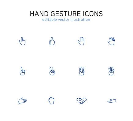Hand gesture line icon set
