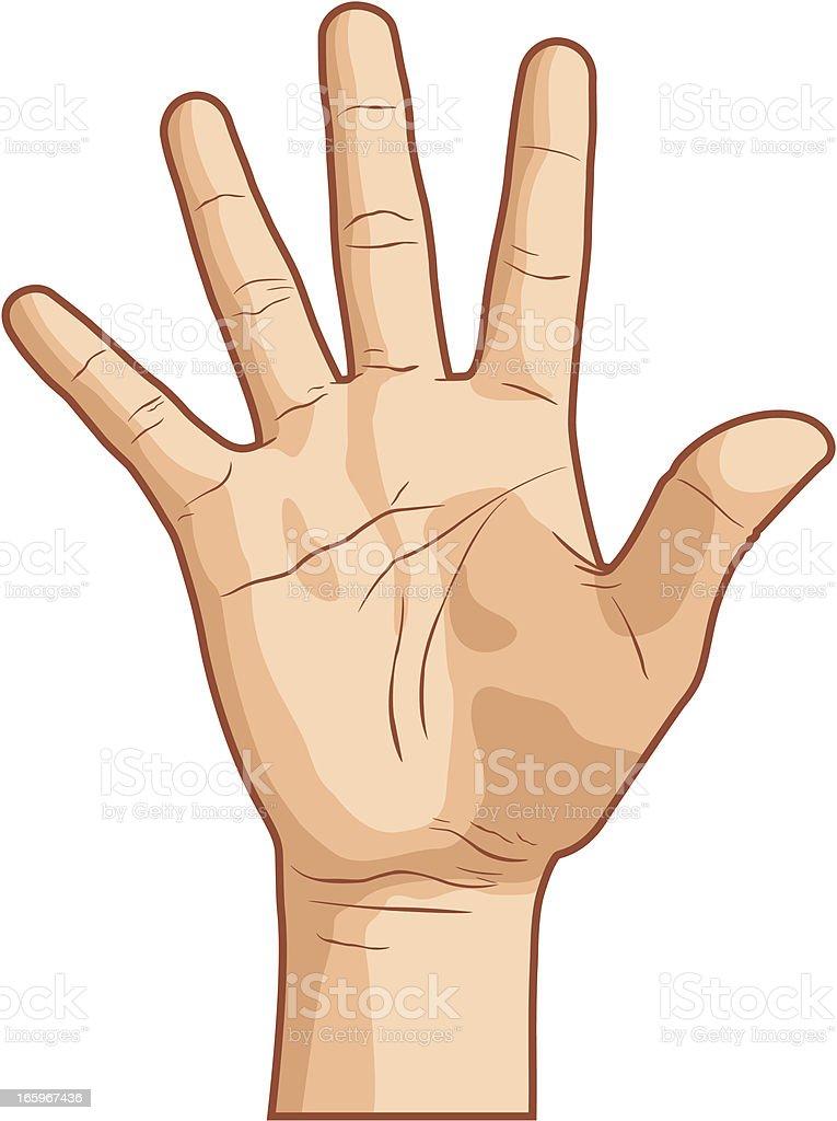 Hand Gesture Number Five vector art illustration