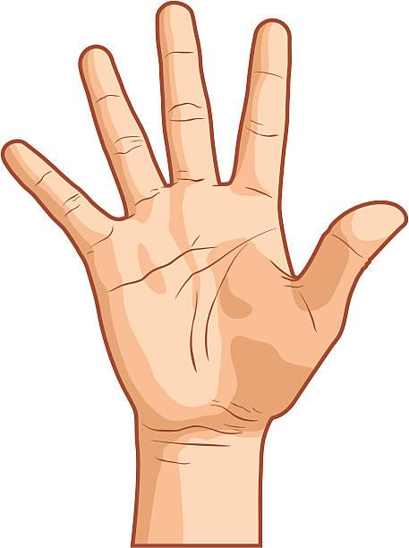 ręką gest numer pięć - dłoń stock illustrations