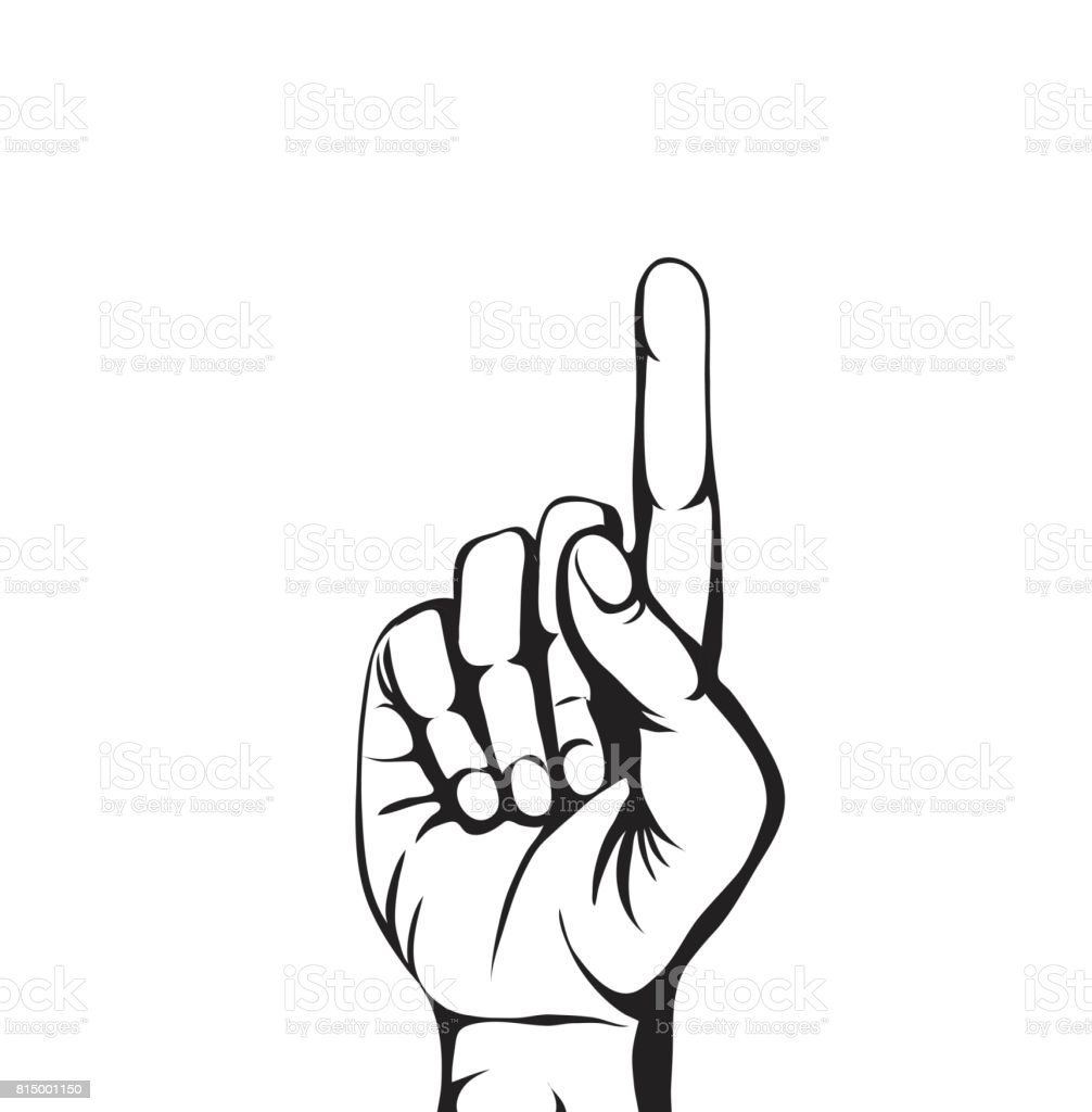 Hand gesture pointing up. The index finger raised. Empty space for your advertising. Vector illustration on white background vector art illustration