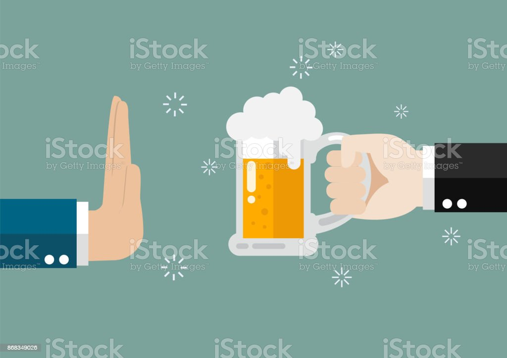 Hand gesture rejection a glass of beer vector art illustration
