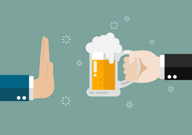 Hand gesture rejection a glass of beer Hand gesture rejection a glass of beer. No alcohol rejection stock illustrations