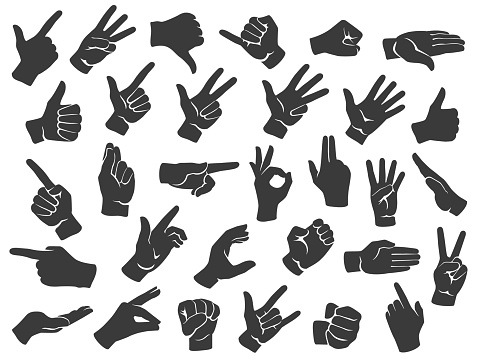 Hand gesture silhouette icons. Man hands gestures, pointing finger and thumbs up like icon stencil vector set