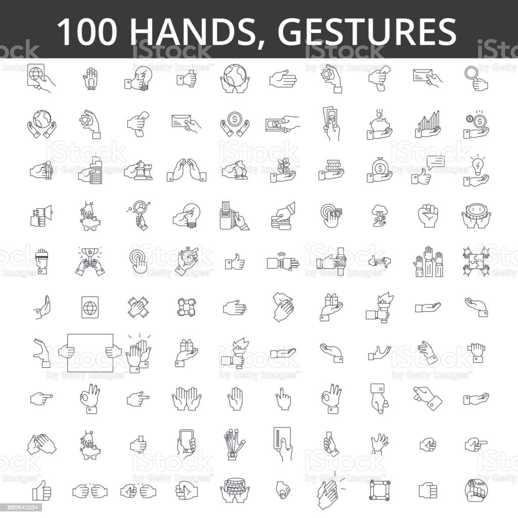 Hand gesture, touch, finger, palm, handshaking, forefinger, okey, body language, take money, pay by card line icons, signs. Illustration vector concept. Editable strokes vector art illustration