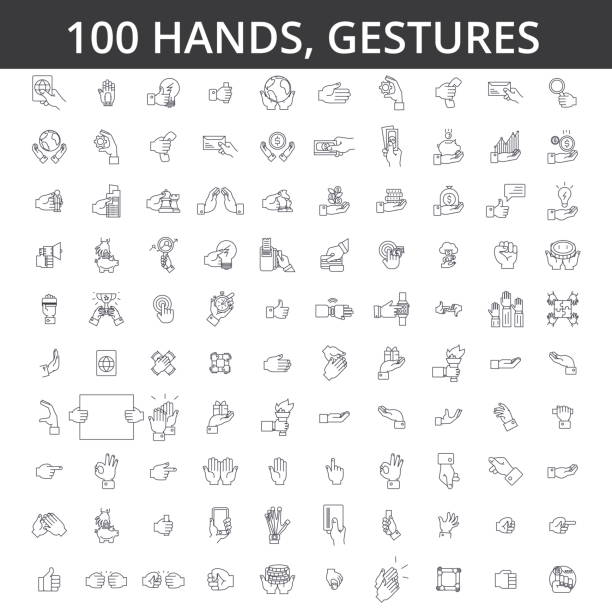 hand gesture, touch, finger, palm, handshaking, forefinger, okey, body language, take money, pay by card line icons, signs. illustration vector concept. editable strokes - znak ręką stock illustrations
