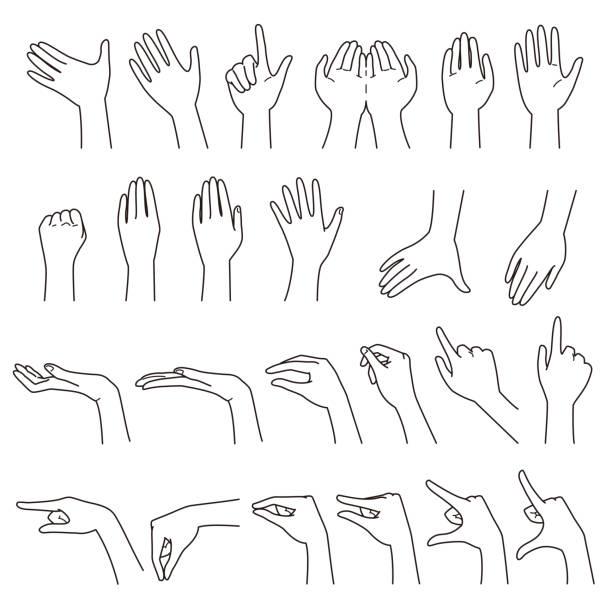 gesty dłoni 01 - ręka człowieka stock illustrations