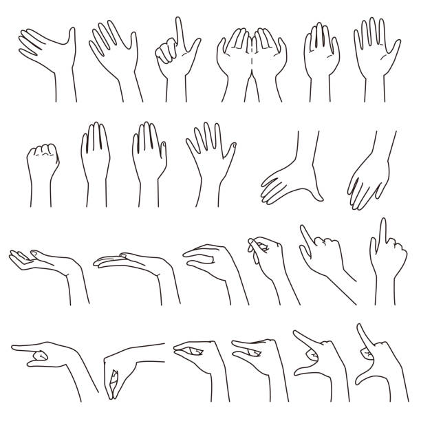 hand gestures 01 - ręka człowieka stock illustrations