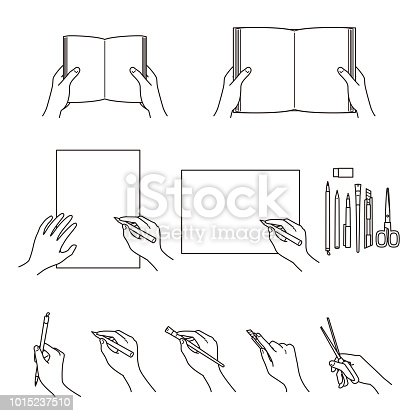 hand gestures, books, stationery, writing tools, vector file set
