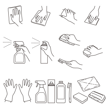 hand gestures 04, clean up and cleaning supplies