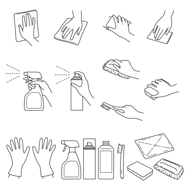 hand gestures 04, clean up and cleaning supplies hand gestures, clean up and cleaning supplies, vector file set aerosol can stock illustrations