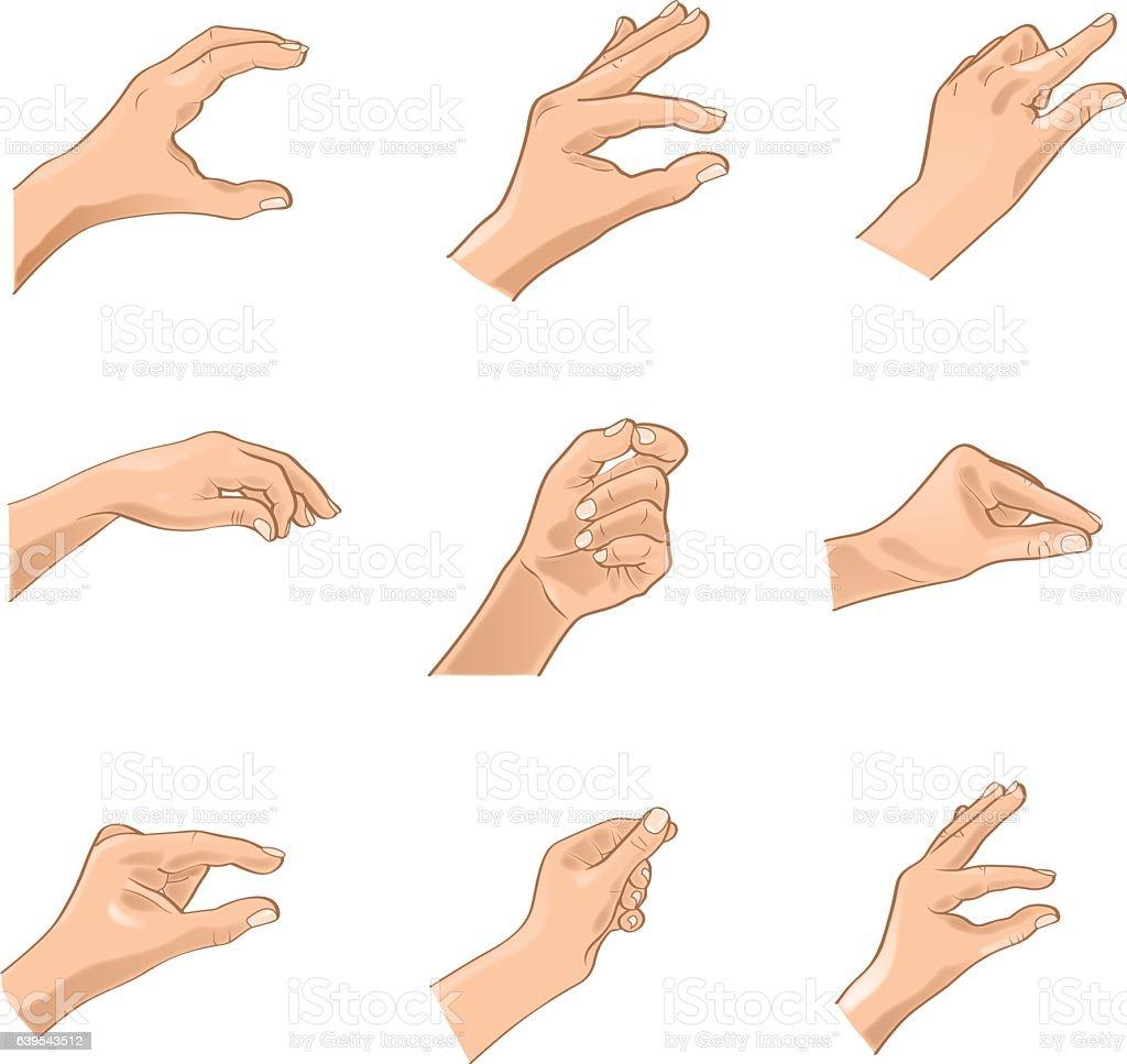 Hand Gestures -Adjustable Illustration (Vector) vector art illustration