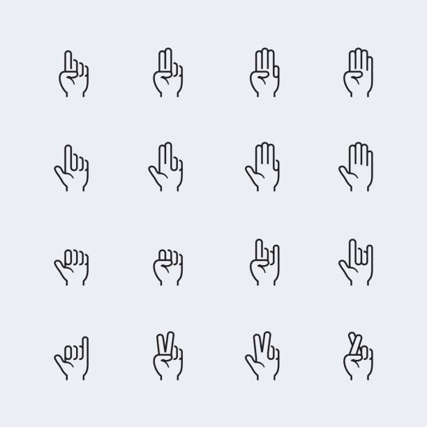 Hand gestures and language thin line icon set #2 Hand gestures and language thin line icon set #2 counting stock illustrations