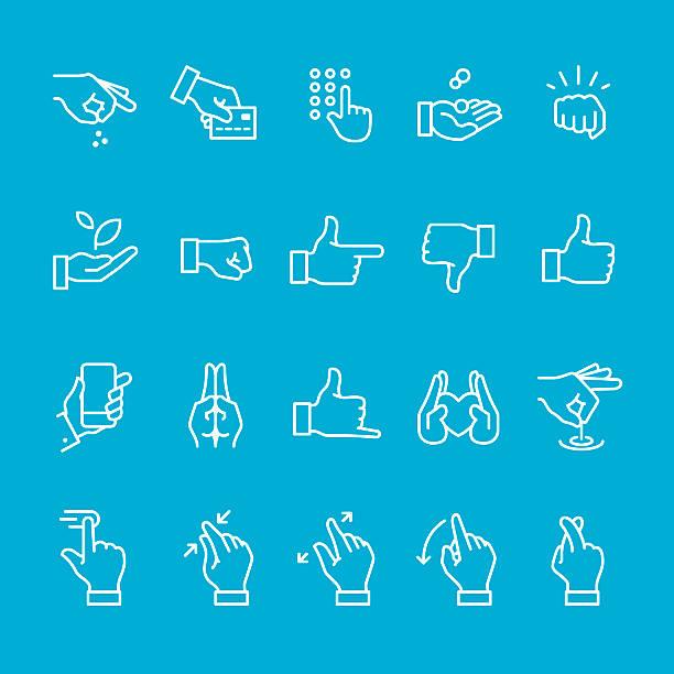 ilustraciones, imágenes clip art, dibujos animados e iconos de stock de gestos con las manos y los iconos de señal - zoom call