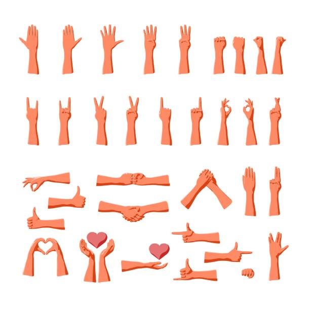 stockillustraties, clipart, cartoons en iconen met hand gebaren collectie voor expressie van emoties en communicatie signalen - wijzen handgebaar