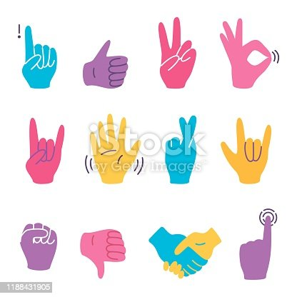 Hand gestures colorful set isolated on white background. Thumb up and ok, peace and attention, like and dislike. Vector cartoon flat illustration.