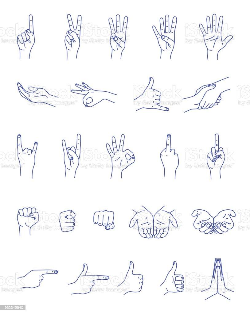 Hand gestures contour vector set vector art illustration