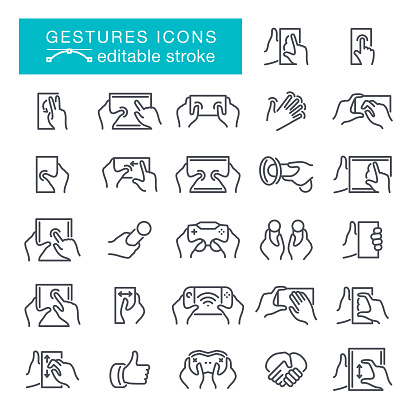 Hand gestures Editable Stroke Icons