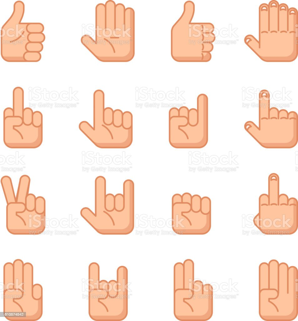 Hand gestures flat signs vector art illustration