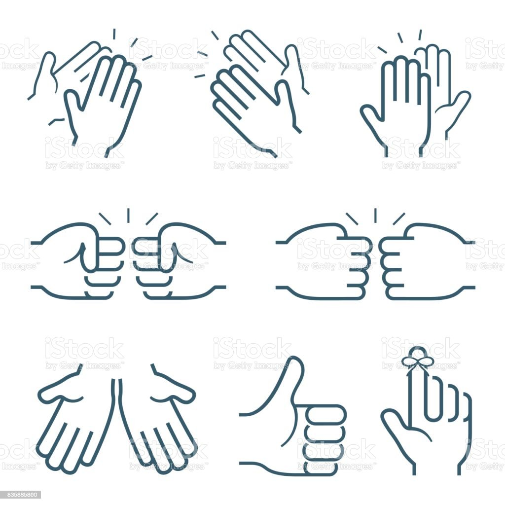 Hand gestures icons: clapping, brofisting and other vector art illustration