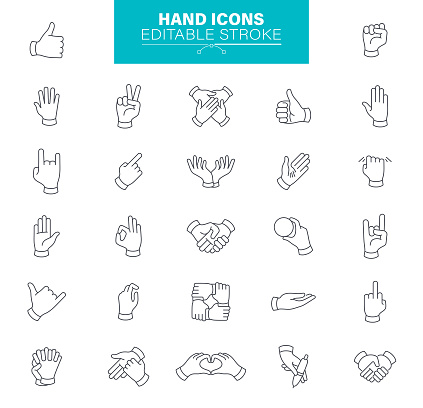 Hand Gestures Icons Editable Stroke. Contains such icons as Charity and Relief Work, Finger, Greeting, Handshake, A Helping Hand