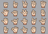 There is a set of icons about gestures of hand in style of Clip art.