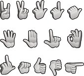 Hand icons for different gestures.