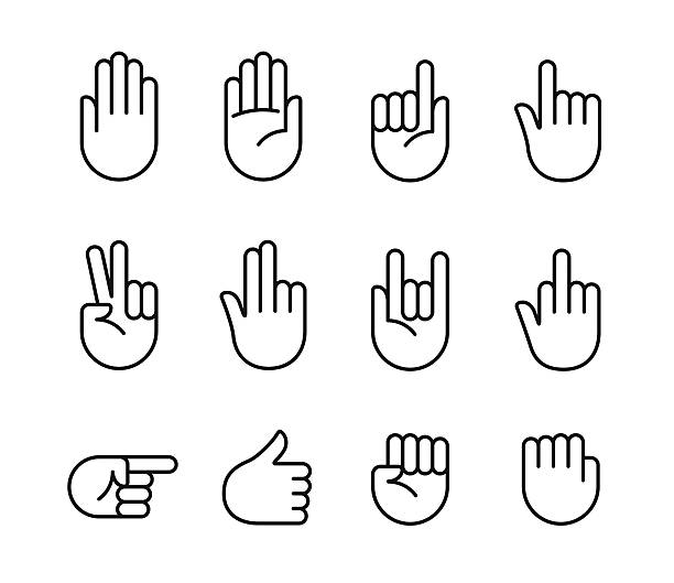 Hand gestures icons Hand gestures and sign language thin line icon set. Isolated vector illustration of human hands. stop stock illustrations