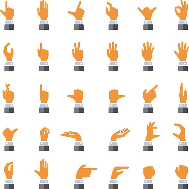 stockillustraties, clipart, cartoons en iconen met hand gestures icons - wijzen handgebaar