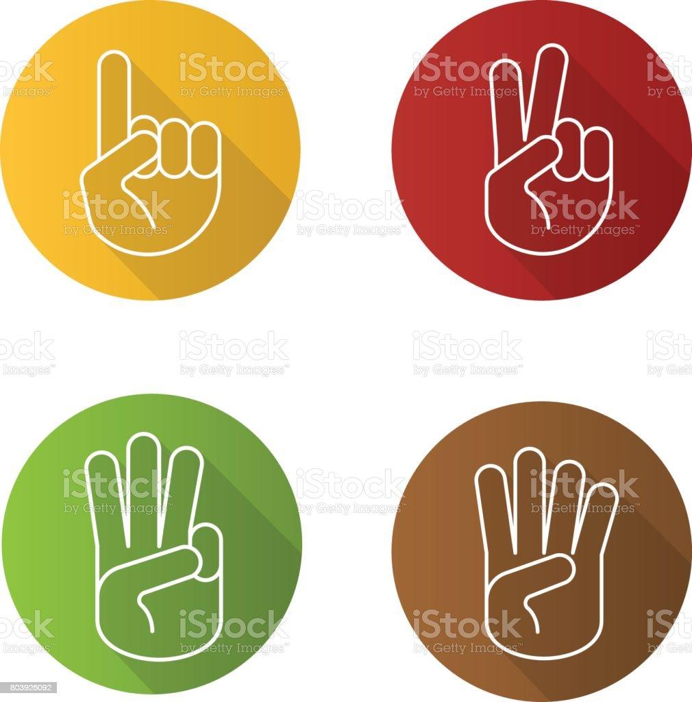 Gestos con las manos iconos ilustración de gestos con las manos iconos y más vectores libres de derechos de cuatro objetos libre de derechos