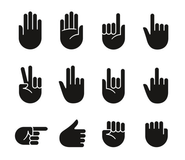 stockillustraties, clipart, cartoons en iconen met hand gebaren pictogrammen - swearing