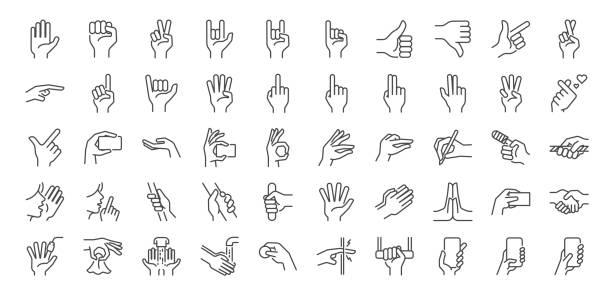handgesten linie symbol gesetzt. enthaltene symbole wie finger interaktion, rosa schwören, zeigefinger punkt, gruß, prise, händewaschen und vieles mehr. - gestikulieren stock-grafiken, -clipart, -cartoons und -symbole