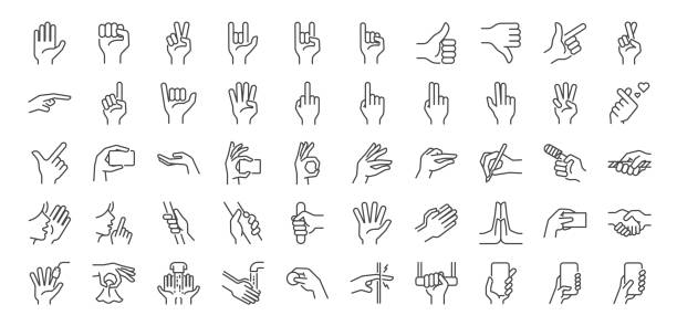 Hand gestures line icon set. Included icons as fingers interaction,  pinky swear, forefinger point, greeting, pinch, hand washing and more. Hand gestures line icon set. Included icons as fingers interaction,  pinky swear, forefinger point, greeting, pinch, hand washing and more. counting stock illustrations