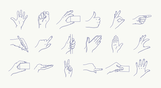 Hand Gestures Line Icon Set. Included Icons as Fingers Interaction, Forefinger Point, Greeting, Pinch, Help, Hand Washing and More