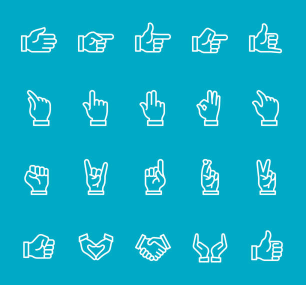 ilustraciones, imágenes clip art, dibujos animados e iconos de stock de gestos con las manos - conjunto de iconos de línea - zoom call
