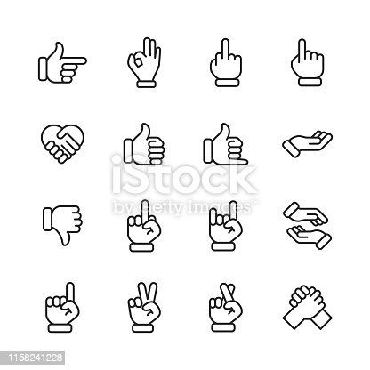16 Hand Gestures Outline Icons.