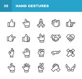 20 Hand Gestures Outline Icons.