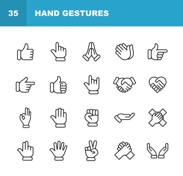 ilustrações de stock, clip art, desenhos animados e ícones de hand gestures line icons. editable stroke. pixel perfect. for mobile and web. contains such icons as gesture, hand, charity and relief work, finger, greeting, handshake, a helping hand, clapping, teamwork. - dedo