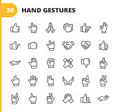 30 Hand Gestures Outline Icons.
