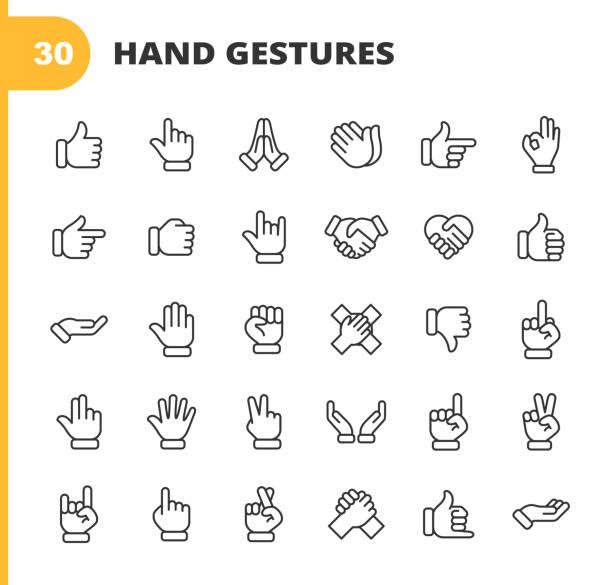 handgesten linie icons. bearbeitbarer strich. pixel perfekt. für mobile und web. enthält symbole wie geste, hand, nächstenliebe und hilfsarbeit, finger, gruß, handshake, eine helfende hand, klatschen, teamarbeit. - gestikulieren stock-grafiken, -clipart, -cartoons und -symbole