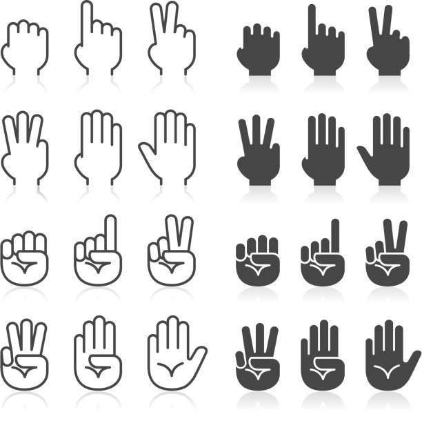 Hand gestures line icons set. Hand gestures line icons set. counting stock illustrations