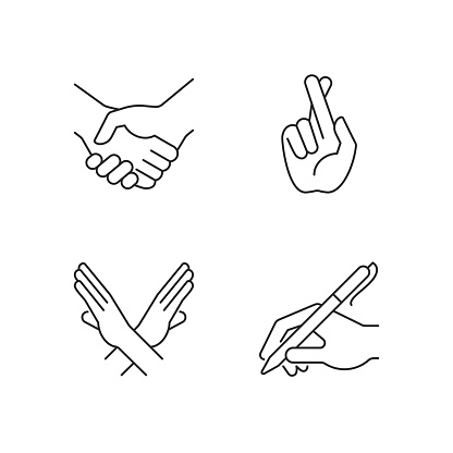 Hand gestures linear icons set