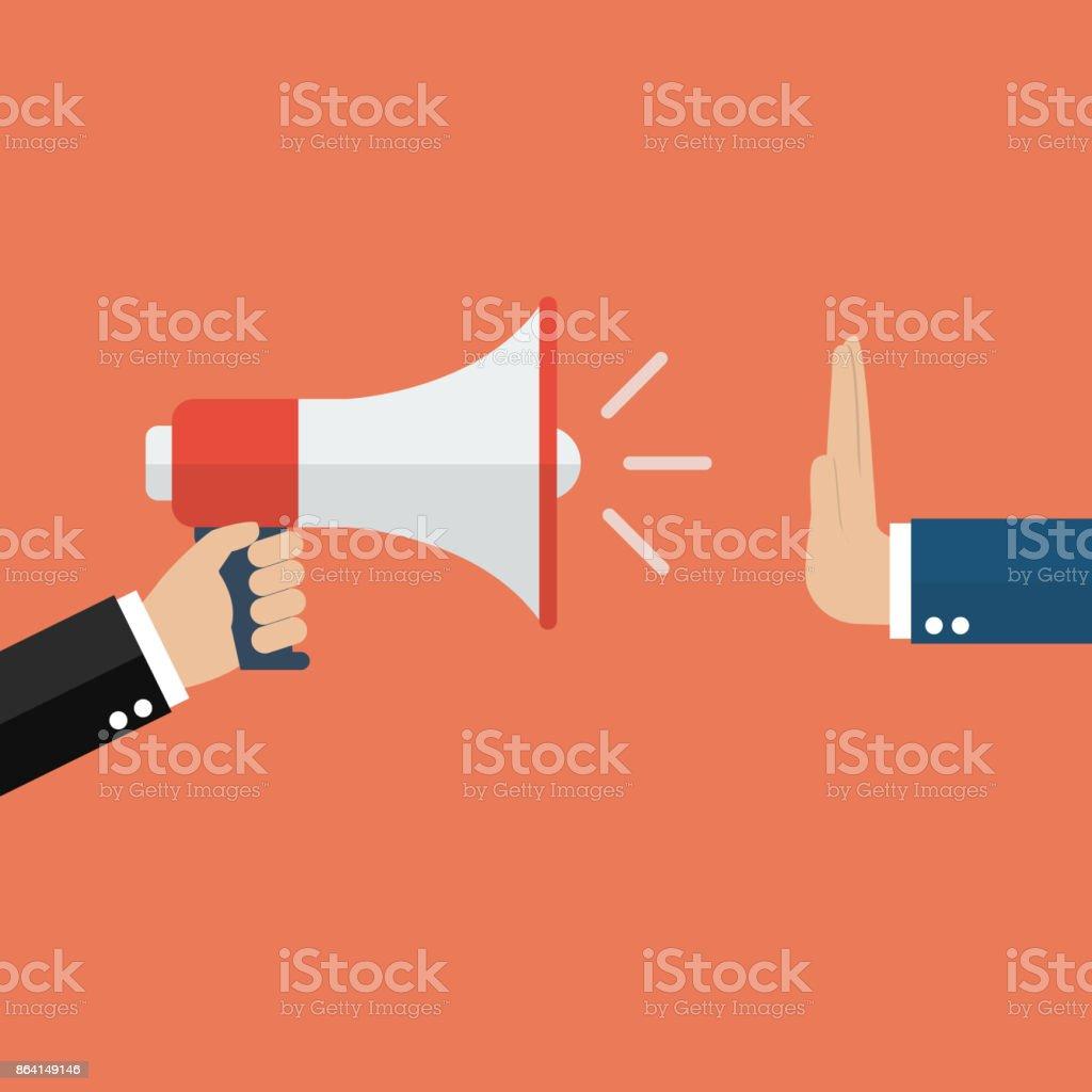 Hand gestures no to megaphone vector art illustration