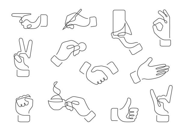hand gestures one line Continuous line drawing of hand gestures. Set of different gestures hand, signs and signals. Icon collection. Vector illustration on white background. contour line stock illustrations