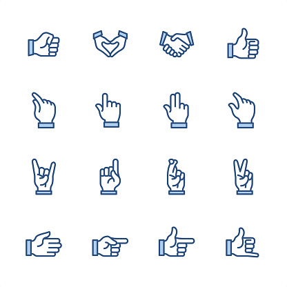 Hand Gestures - Pixel Perfect blue outline icons