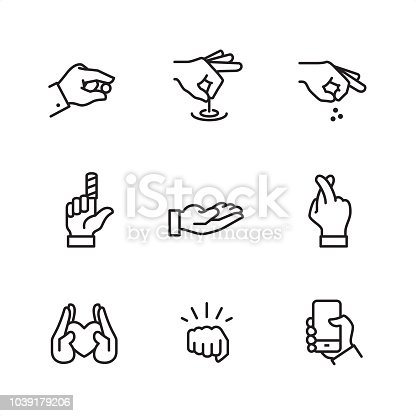 First row of icons contains: Pinch icon (index and thumbs), Hand pulling a string, Sprinkle hand.  Second row contains: Bandaged index finger, Open hand, Fingers Crossed Gesture;   Third row contains: Handful heart (Protecting), Punch (oncoming fist), Holding the phone.  9 Outline style black and white icons / Set #25 Pixel Perfect Principle - all the icons are designed in 64x64 px grid, outline stroke 2 px.  Complete Outline 3x3 PRO collection - https://www.istockphoto.com/collaboration/boards/hyo8kGplAEWxASfzDWET0Q