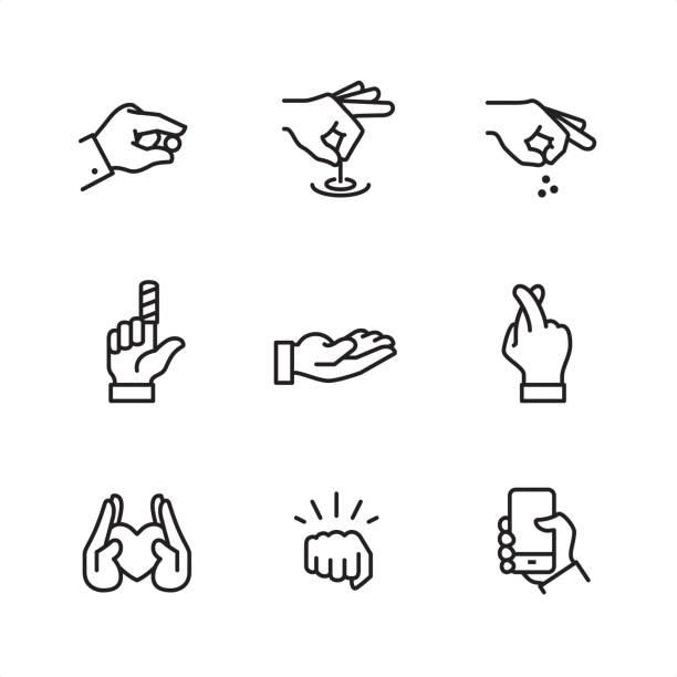 bildbanksillustrationer, clip art samt tecknat material och ikoner med gester - pixel perfekt kontur ikoner - människoarm