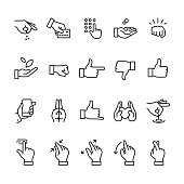 Hand gestures related linear icons
