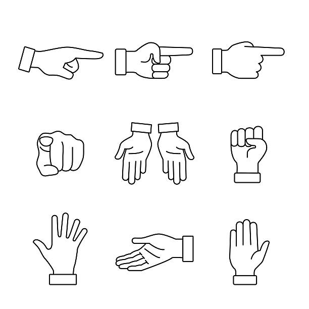 Hand gestures signs set Hand gestures signs set. Thin line art icons. Linear style illustrations isolated on white. dorsal fin stock illustrations