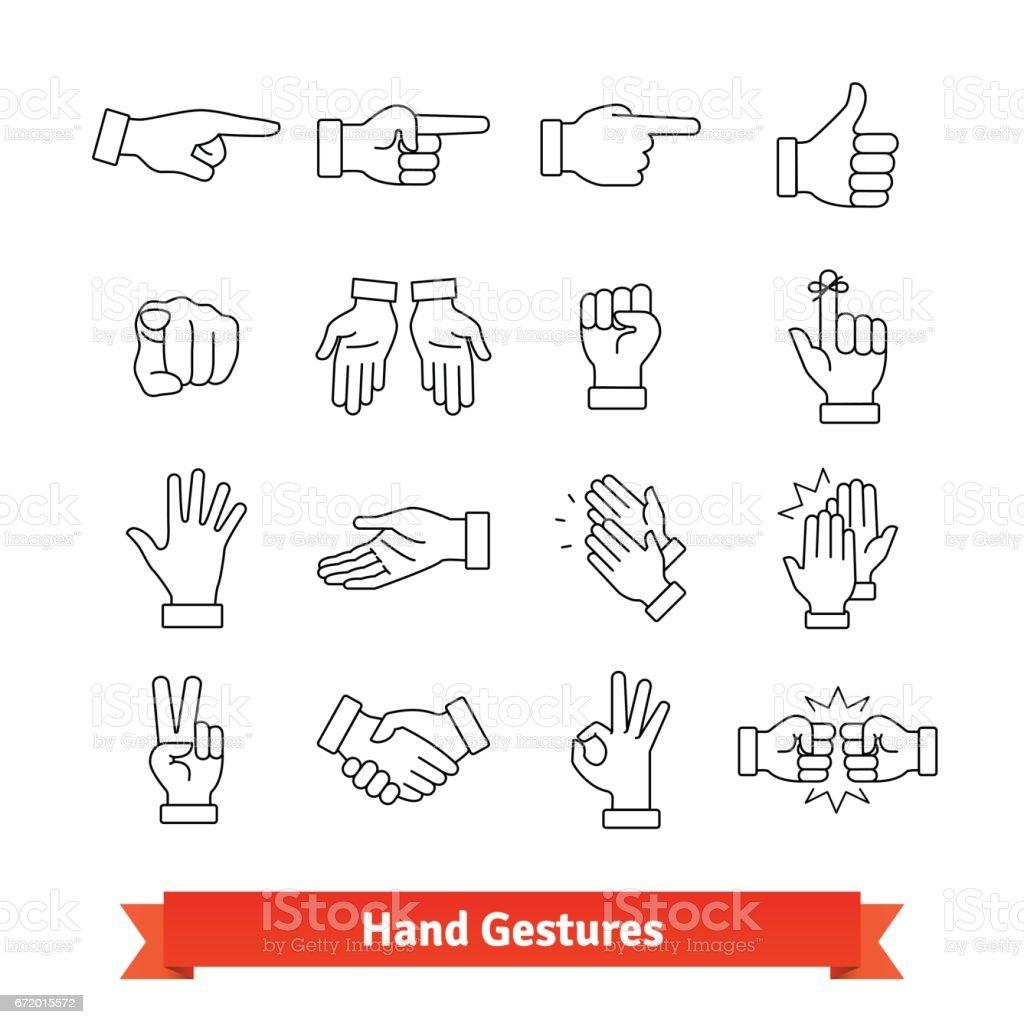 Gestos de mão linha fina arte ícones conjunto - ilustração de arte em vetor