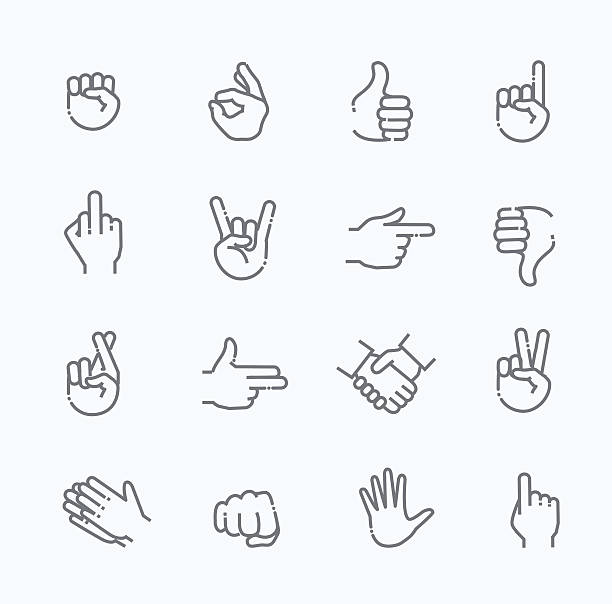 stockillustraties, clipart, cartoons en iconen met hand gestures thin line icon set - swearing